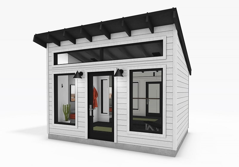 Modern Series Shed 10 x 14 exterior view white siding