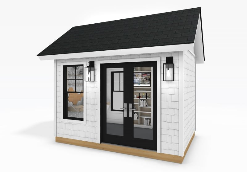 Traditional Series 8 x 12 by Sanctuary Shed with distance learning exterior